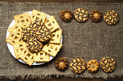 Cookies on a textured background.Rustic style. Top view. Free space for text Stock Image