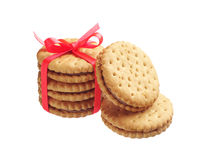Cookies tied with red ribbon Royalty Free Stock Image