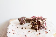 Cookies tied with red and white ribbon