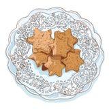 Cookies tiradas mão isoladas do esboço Fotografia de Stock Royalty Free