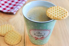 Cookies on Top White Ceramic Coffee Mug Royalty Free Stock Photos