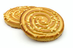 Cookies topped with sesame seeds Stock Photo