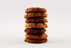Cookies. Tower in the center of the frame within white background Royalty Free Stock Photography