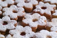 Cookies tradicionais de Linzer Fotografia de Stock