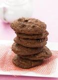 Cookies triplas do chocolate Fotografia de Stock