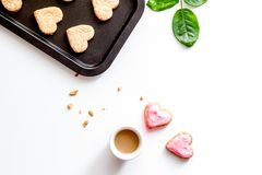 Cookies for Valentine Day heartshaped on white background top vi. Cookies for Valentine`s Day heartshaped on white background top view royalty free stock image