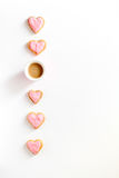 Cookies for Valentine Day heartshaped white background top view pattern. Cookies for Valentine`s Day heartshaped on white background top view pattern Stock Image