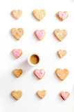 Cookies for Valentine Day heartshaped white background top view pattern. Cookies for Valentine`s Day heartshaped on white background top view pattern Stock Photography