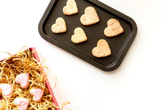 Cookies for Valentine Day heartshaped on white background top view. Cookies for Valentine`s Day heartshaped on white background top view Royalty Free Stock Images