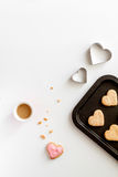 Cookies for Valentine Day heartshaped on white background top view. Cookies for Valentine`s Day heartshaped on white background top view Stock Photos