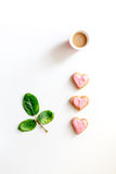 Cookies for Valentine Day heartshaped on white background top view. Cookies for Valentine`s Day heartshaped on white background top view Royalty Free Stock Photo