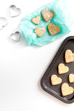 Cookies for Valentine Day heartshaped on white background top view. Cookies for Valentine`s Day heartshaped on white background top view Stock Photo