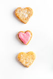 Cookies for Valentine Day heartshaped on white background top view. Cookies for Valentine`s Day heartshaped on white background top view Stock Photography