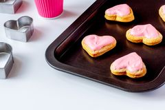 Cookies for Valentine`s Day heartshaped on white background.  royalty free stock image