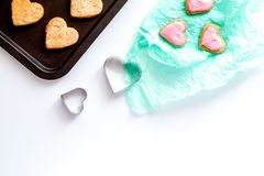 Cookies for Valentine Day heartshaped on white background top vi. Cookies for Valentine`s Day heartshaped on white background top view royalty free stock photo