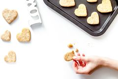 Cookies for Valentine Day heartshaped on white background top vi. Cookies for Valentine`s Day heartshaped on white background top view stock photos