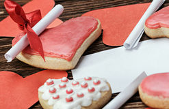 Cookies Valentine's Day and Valentine paper Royalty Free Stock Photos