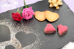 Cookies and valentines chocolates Stock Image