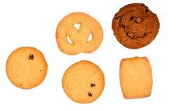 Cookies - variedade de cookies doces com chocolate e açúcar imagens de stock