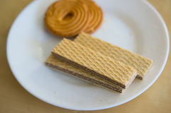 Cookies and wafers Royalty Free Stock Images