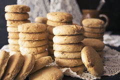 Cookies from walnuts and almonds. Pyramid of the cookies with walnuts and almonds Royalty Free Stock Images