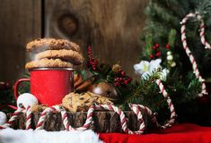 Cookies on Warm Drink for Christmas stock photos