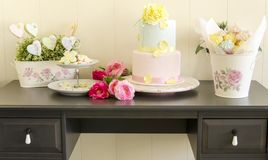 Cookies, wedding cake and meringues Stock Photo