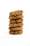 Cookies on White Background. Chocolate Chip Cookies in a Pile on a White Isolated Background Stock Photos