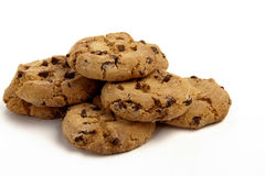 Cookies on White Background. Chocolate Chip Cookies in a Pile on a White Isolated Background Royalty Free Stock Images