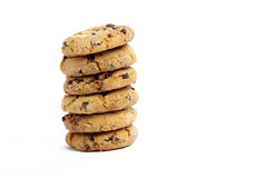 Cookies on White Background. Chocolate Chip Cookies in a Pile on a White Isolated Background Stock Photography