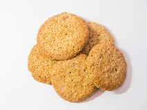 Oameal Cookies on white background. stock images