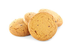 Cookies on white background. Pile of round cookies on a white background Stock Photo