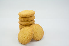 Cookies on white background. Stack of cookies on white background royalty free stock photography