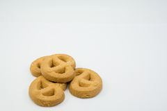 Cookies on white background. Stack of cookies on white background Stock Photo