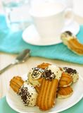 Cookies with white and black chocolate Stock Image