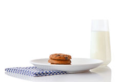 Cookies on white ceramic plate on blue napkin and glass of milk Stock Images