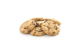 Cookies on white. Choc chip cookies  on a white background Royalty Free Stock Images