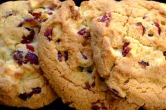 Cookies, white chocolate and cranberries. Good quality photo of a few cookies. You may see closely three quite big delicious cereal cookies with white chocolate Stock Photography