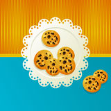 Cookies on a white napkin. Cookies on a white napkin om blue background Royalty Free Stock Photos