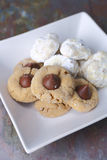 Cookies on a white plate Stock Photos