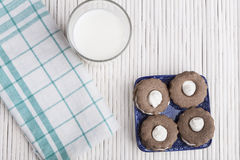 Cookies on White Wood Royalty Free Stock Images