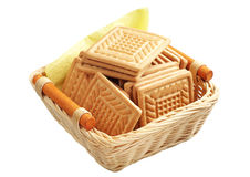 Cookies in wicker basket Stock Photography