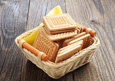 Cookies in wicker basket Stock Photo