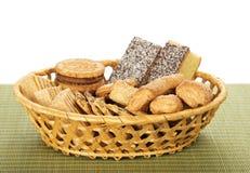 Cookies in wicker basket Stock Photos