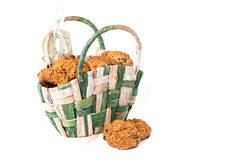 Cookies in a wicker basket Royalty Free Stock Photo