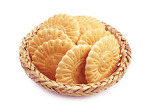 Cookies in wicker bowl Royalty Free Stock Image