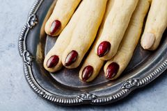 Cookies Witch`s fingers for Halloween party celebration. Close up. Cookies Witch`s fingers for Halloween party celebration. Close up stock image