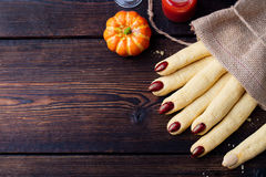 Cookies Witchs fingers for Halloween celebration. Royalty Free Stock Photography