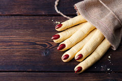 Cookies Witchs fingers for Halloween celebration. Stock Image