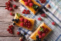 Free Cookies With Berries, Honey And Mint. Horizontal Top View Closeu Royalty Free Stock Photos - 56840888